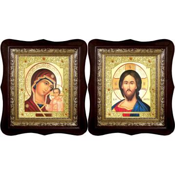 Венчальная пара Икона Спасителя и Казанской Божьей Матери 21-1518-ФБВП-7
