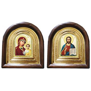 Венчальная пара Икона Спасителя и Казанской Божьей Матери 11-АВП-8