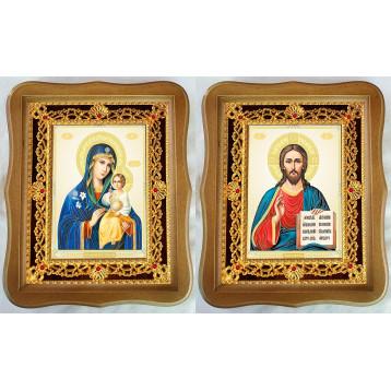Венчальная пара Икона Спасителя и Неувядаемый цвет Божия Матерь 35-ФВП-11