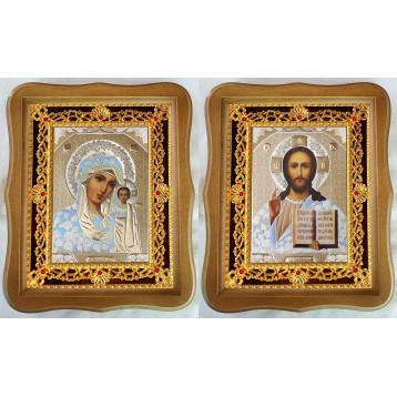 Венчальная пара Икона Спасителя и Казанской Божьей Матери 35-ФВП-1
