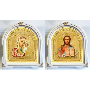Венчальная пара Икона Спасителя и Казанской Божьей Матери 12-БВП-3