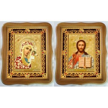 Венчальная пара Икона Спасителя и Казанской Божьей Матери 35-ФВП-3