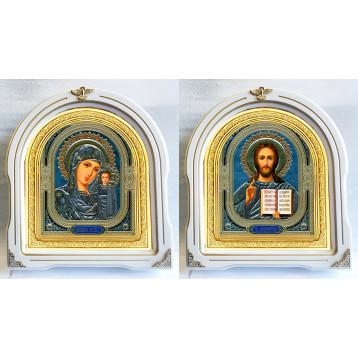 Венчальная пара Икона Спасителя и Казанской Божьей Матери 12-БВП-4