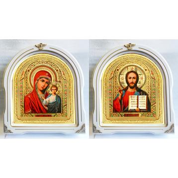 Венчальная пара Икона Спасителя и Казанской Божьей Матери 12-БВП-5
