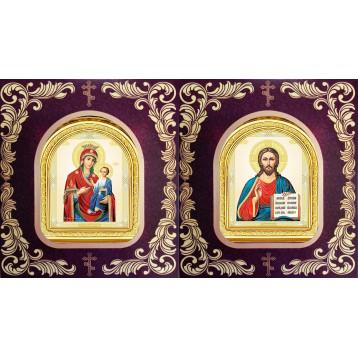 Венчальная пара Икона Спасителя и Иверская Божия Матерь 12-БВП-9