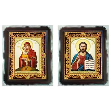 Венчальная пара Икона Спасителя и Почаевская Божия Матерь 38-ФВП-10