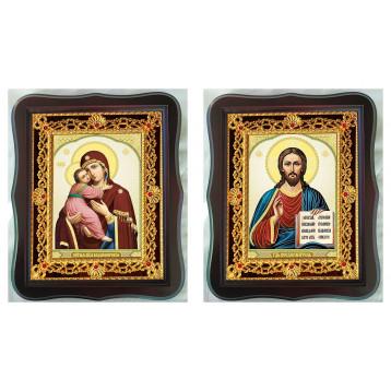 Венчальная пара Икона Спасителя и Владимирская Божия Матерь 38-ФВП-12