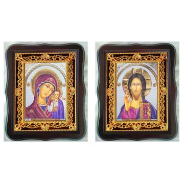 Венчальная пара Икона Спасителя и Казанской Божьей Матери 38-ФВП-17