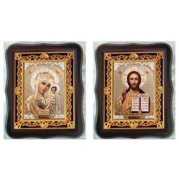 Венчальная пара Икона Спасителя и Казанской Божьей Матери 38-ФВП-2