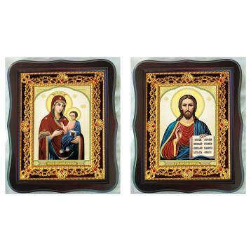Венчальная пара Икона Спасителя и Иверская Божия Матерь 38-ФВП-9