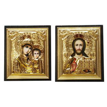 Венчальная пара Икона Спасителя и Казанской Божьей Матери 40-ВП-3