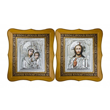 Венчальная пара Икона Спасителя и Казанской Божьей Матери 40-ВП-5