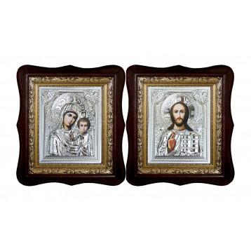 Венчальная пара Икона Спасителя и Казанской Божьей Матери 40-ВП-6