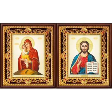 Венчальная пара Икона Спасителя и Почаевская Божия Матерь 36-ВП-10