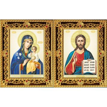 Венчальная пара Икона Спасителя и Неувядаемый цвет Божия Матерь 35-ДВП-11