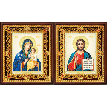 Венчальная пара Икона Спасителя и Неувядаемый цвет Божия Матерь 36-ВП-11