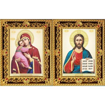 Венчальная пара Икона Спасителя и Владимирская Божия Матерь 35-ДВП-12
