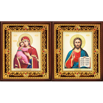 Венчальная пара Икона Спасителя и Владимирская Божия Матерь 36-ВП-12