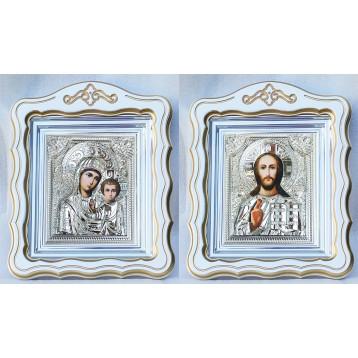 Венчальная пара Икона Спасителя и Казанской Божьей Матери 37-ВП-17