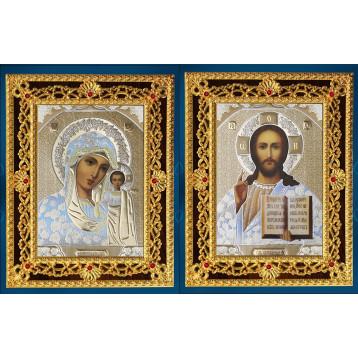 Венчальная пара Икона Спасителя и Казанской Божьей Матери 38-ДВП-15