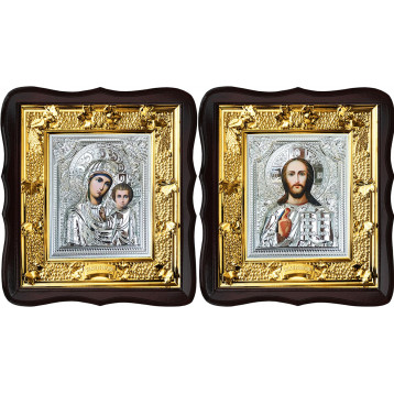 Венчальная пара Икона Спасителя и Казанской Божьей Матери 37-ВП-11
