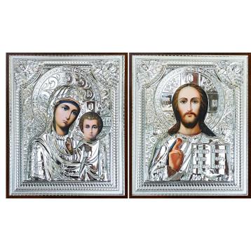 Венчальная пара Икона Спасителя и Казанской Божьей Матери 37-ВП-14