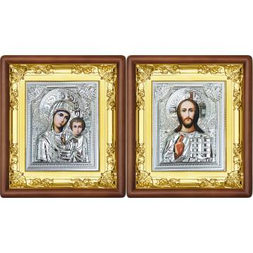Венчальная пара Икона Спасителя и Казанской Божьей Матери 37-ВП-4