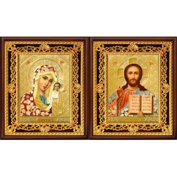 Венчальная пара Икона Спасителя и Казанской Божьей Матери 36-ВП-3