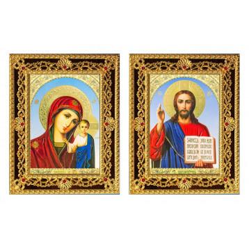 Венчальная пара Икона Спасителя и Казанской Божьей Матери 38-ДВП-6