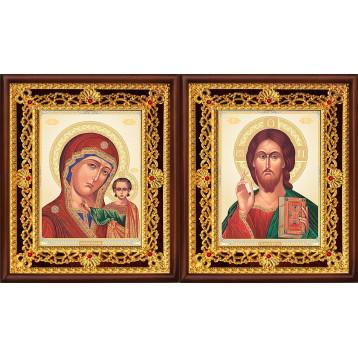 Венчальная пара Икона Спасителя и Казанской Божьей Матери 36-ВП-7