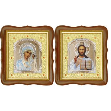 Венчальная пара Икона Спасителя и Казанской Божьей Матери 20-ФСВП-1