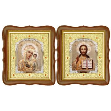 Венчальная пара Икона Спасителя и Казанской Божьей Матери 20-ФСВП-2