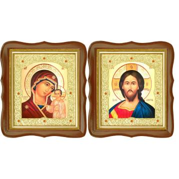 Венчальная пара Икона Спасителя и Казанской Божьей Матери 20-ФСВП-7