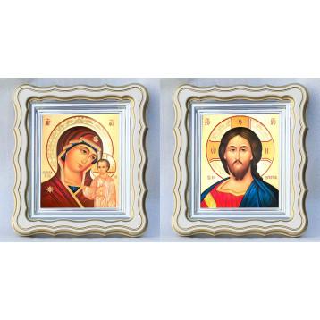 Венчальная пара Икона Спасителя и Казанской Божьей Матери 43-ВП-7