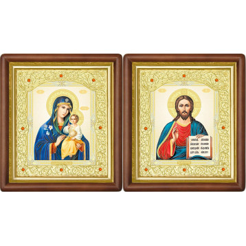 Венчальная пара Икона Спасителя и Неувядаемый цвет Божия Матерь 20-ВП-11