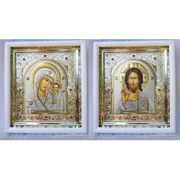 Венчальная пара Икона Спасителя и Казанской Божьей Матери 20-ВП-20