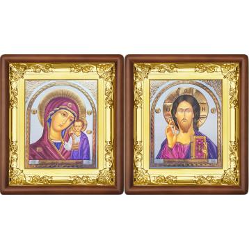 Венчальная пара Икона Спасителя и Казанской Божьей Матери 5-ВП-21
