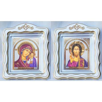 Венчальная пара Икона Спасителя и Казанской Божьей Матери 44-ФВП-21