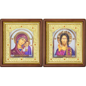 Венчальная пара Икона Спасителя и Казанской Божьей Матери 20-ВП-21
