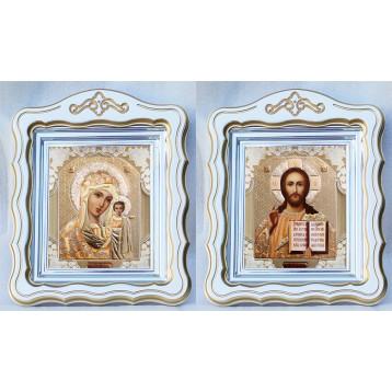 Венчальная пара Икона Спасителя и Казанской Божьей Матери 44-ФВП-2