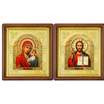 Венчальная пара Икона Спасителя и Казанской Божьей Матери 17-ВП-5