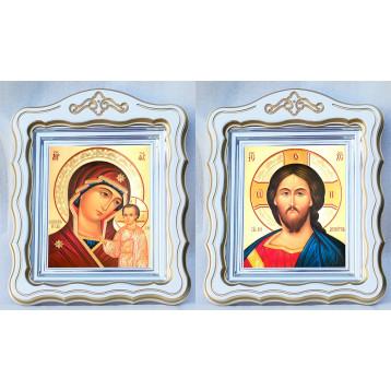 Венчальная пара Икона Спасителя и Казанской Божьей Матери 44-ФВП-7