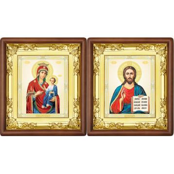 Венчальная пара Икона Спасителя и Иверская Божия Матерь 5-ВП-9