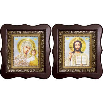 Венчальная пара Икона Спасителя и Казанской Божьей Матери 1012-ФБВП-19