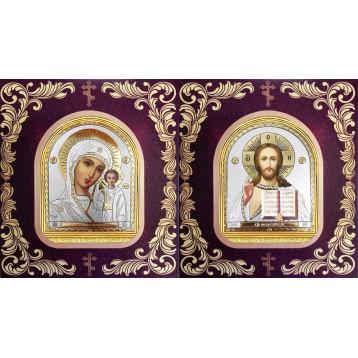 Венчальная пара Икона Спасителя и Казанской Божьей Матери 12-БВП-22