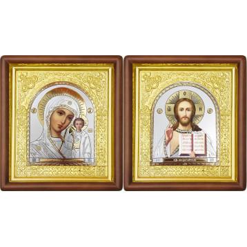 Венчальная пара Икона Спасителя и Казанской Божьей Матери 17-ВП-22
