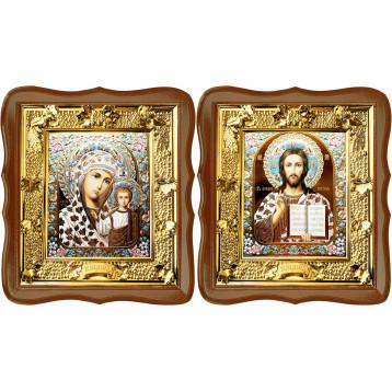 Венчальная пара Икона Спасителя и Казанской Божьей Матери 31-ФВП-17