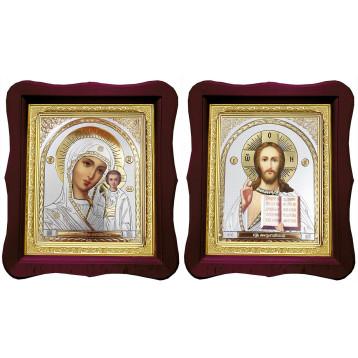 Венчальная пара Икона Спасителя и Казанской Божьей Матери 18-ФВП-22