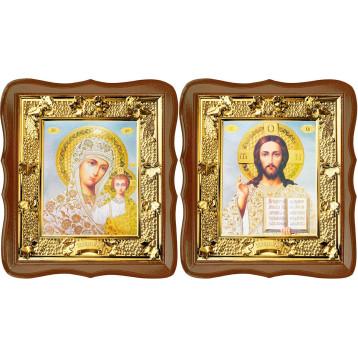 Венчальная пара Икона Спасителя и Казанской Божьей Матери 31-ФВП-19