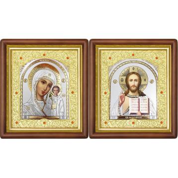 Венчальная пара Икона Спасителя и Казанской Божьей Матери 20-ВП-22